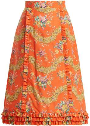 THE VAMPIRE'S WIFE Cate Liberty floral-print cotton midi skirt