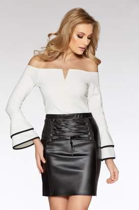 3454dbb3bb6 Quiz Cream And Black Double Frill Sleeve Bodysuit