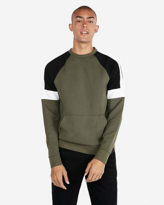 Express Color Block Fleece Crew Neck Sweatshirt