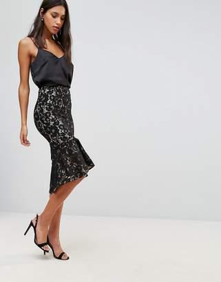 MinkPink Marsleille Lace Midi Skirt With Flare Hem