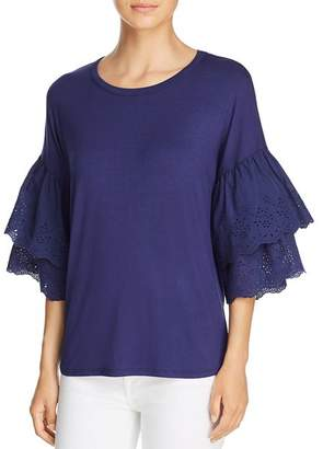 Kim & Cami Tiered Ruffled Eyelet-Sleeve Top