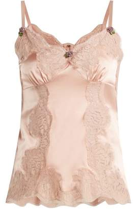 Dolce & Gabbana Lace Trimmed Silk Satin Camisole - Womens - Light Pink