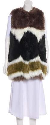 Dawn Levy Faux Fur Knit Vest