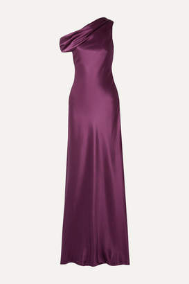 Cushnie One-shoulder Draped Silk-satin Gown - Plum
