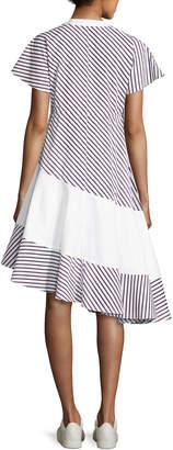 Carven Striped Asymmetric Midi Dress, Blue Pattern