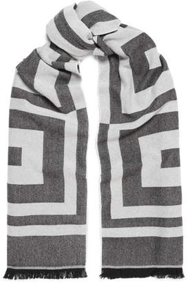 Givenchy Wool And Cashmere-blend Jacquard Scarf - Gray