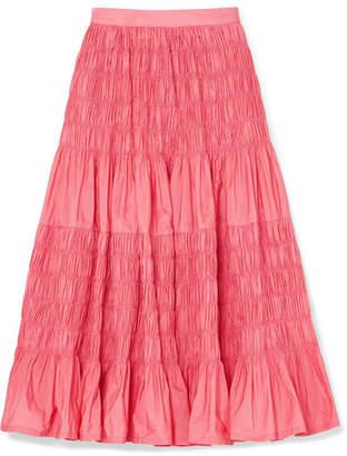 Molly Goddard Helene Tiered Shirred Taffeta Midi Skirt - Pink