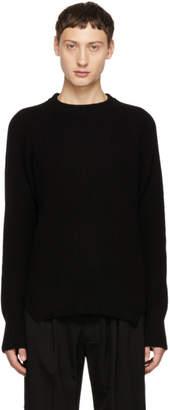 Yohji Yamamoto Black Rib Knit Crewneck Sweater