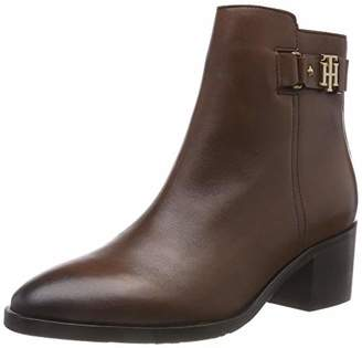 Tommy Hilfiger Women's Th Buckle Mid Heel Boot Leather Ankle