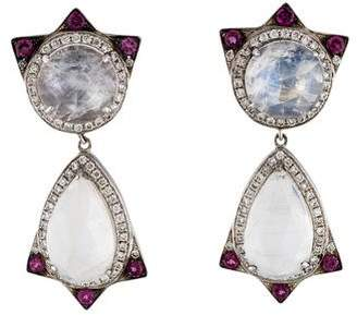 18K Moonstone Labradorite, Diamond & Pink Sapphire Drop Earrings