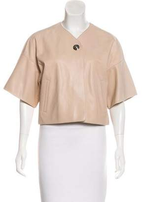 Hermes Leather Short Sleeve Jacket