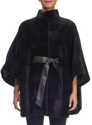 Reich Furs Sheared Mink Horizontal Belted Cape Coat