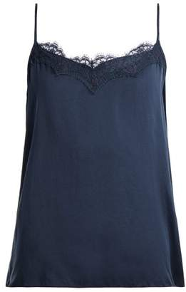 Icons Peony Lace Silk Camisole - Womens - Navy