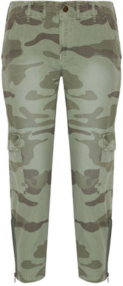 Current/Elliott - The Utilitarian Camouflage-print Cotton-canvas Tapered Pants - Army green $250 thestylecure.com