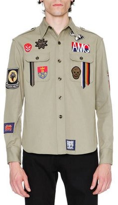 Alexander McQueen Military Shirt-Jacket w/Patches, Beige $885 thestylecure.com