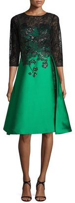 Rickie Freeman for Teri Jon 3/4-Sleeve Lace & Gazar Cocktail Dress, Emerald $760 thestylecure.com
