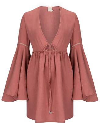 Dor Raw Luxury - Coral Fever Linen Dress Cassis