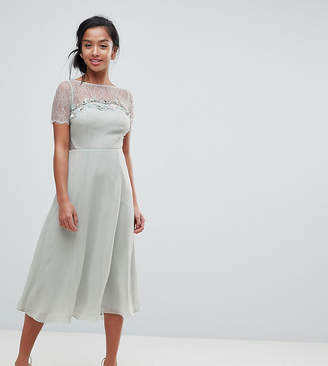 Asos Lace Insert Midi Dress With Floral Embellished Trim