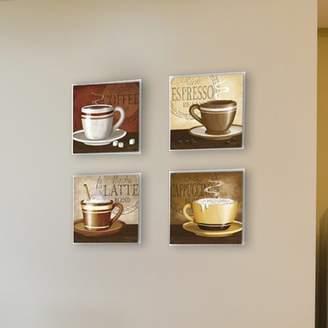 Andover Mills Espresso, Coffee, Latte, Cappuccino 4 Piece Graphic Art Wall Plaque Set