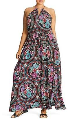 City Chic Plus Folklore Floral Print Maxi Dress
