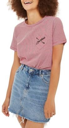 Women's Topshop Heartless Stripe Tee $35 thestylecure.com