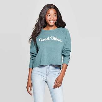 Grayson Threads Women's Good Vibes Long Sleeve Cropped Graphic Sweatshirt (Juniors') - Teal