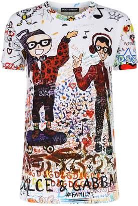 Dolce & Gabbana All-Over Graffiti Print T-Shirt