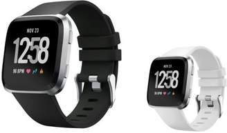 Fitbit Versa Bands Small by Zodaca 2-PACK (Black + White) Replacement Bands SMALL Size Adjustable Wrist Band Soft Rubber Silicone Strap Clasp Buckle For Versa Fitness Smartwatch - Black + White