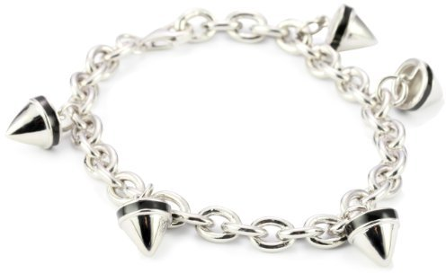 Nicky Hilton Sterling Silver Spike Charm Bracelet with Black Enamel