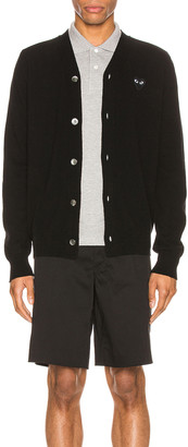 Comme des Garcons Lambswool Cardigan with Black Emblem in Black | FWRD