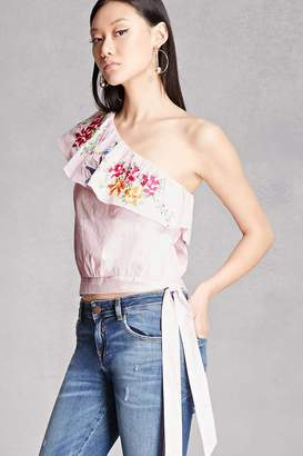 Forever 21 One-Shoulder Embroidered Top