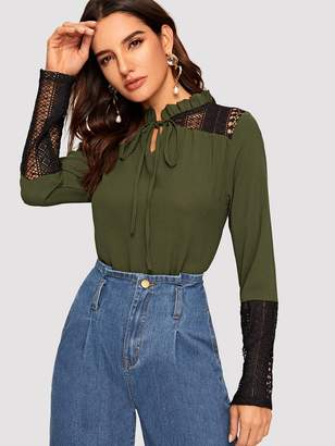 Shein Frilled Tie Neck Lace Insert Blouse