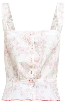 Thierry Colson Rosa Floral Print Cotton Top - Womens - Pink Multi
