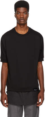 3.1 Phillip Lim Black Short Sleeve Poplin Hem Sweatshirt