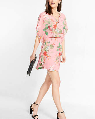 Express Floral Print Lace-Up Caftan Dress