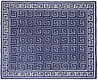 One Kings Lane Custom Greek Key Cotton Throw - Navy