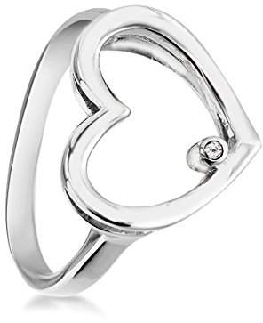 62ddb5fd2e873 ... N. Lily   Lotty Rhodium Plated 925 Sterling Silver Hand Set Diamond  Agatha Open Heart