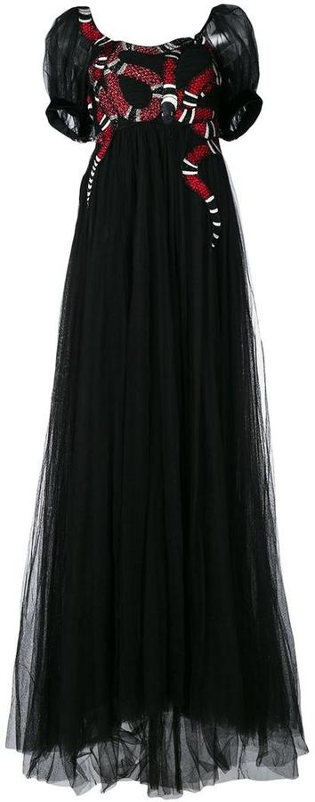 Gucci Gucci snake embroidered tulle gown