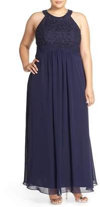 Eliza J Halter Style Lace & Chiffon Gown (Plus Size)