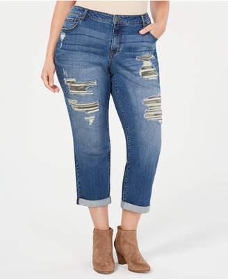 Style&Co. Style & Co Plus Size Camo Destructed Boyfriend-Fit Jeans