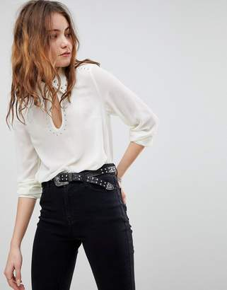 Glamorous Long Sleeve Top With Studded Keyhole Detail