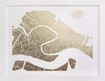 Venice Map Foil-Pressed Art Print