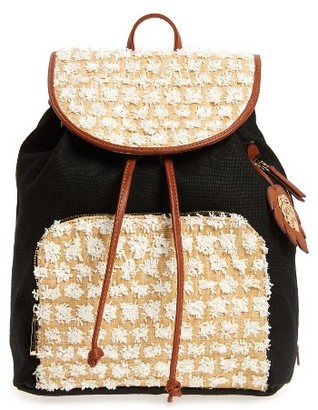 Tommy Bahama Koki Beach Straw Panel Backpack - Black $108 thestylecure.com