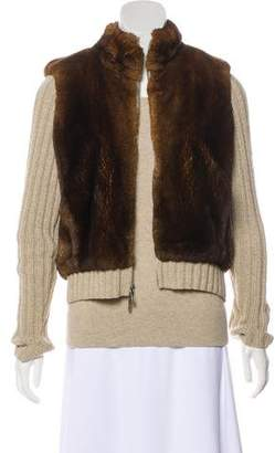 TSE Fur-Trimmed Cardigan Set
