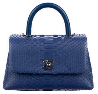 Chanel Mini Python Coco Handle Bag Blue Mini Python Coco Handle Bag