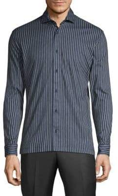 Striped Linen Print Sport Shirt