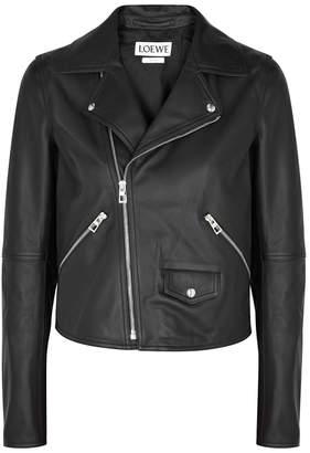 Loewe Cazadora Black Leather Biker Jacket