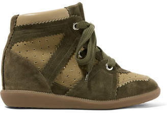 Isabel Marant Bobby Perforated Canvas And Suede Wedge Sneakers - Army green