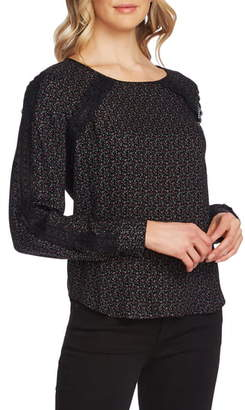 Vince Camuto Wistful Prairie Lace Detail Long Sleeve Blouse
