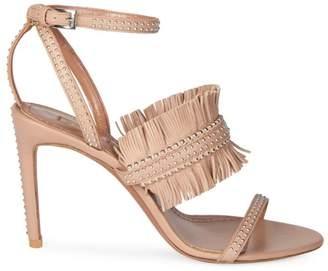 Alaia Fringed Leather Slingback Sandals
